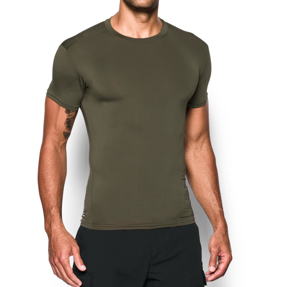 Under Armour Men's UA Tac Heat Gear Compression Tee, Marine Od Green (390)/Clear, Small