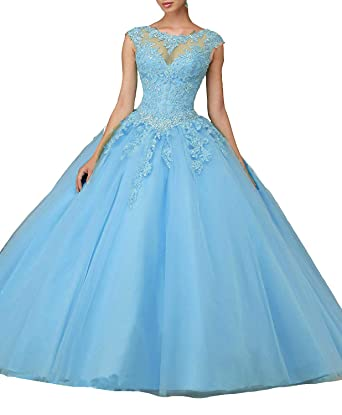b71ff962b MEILISAY Women s Cap Sleeves Prom Ball Gowns with Appliques Beaded ...