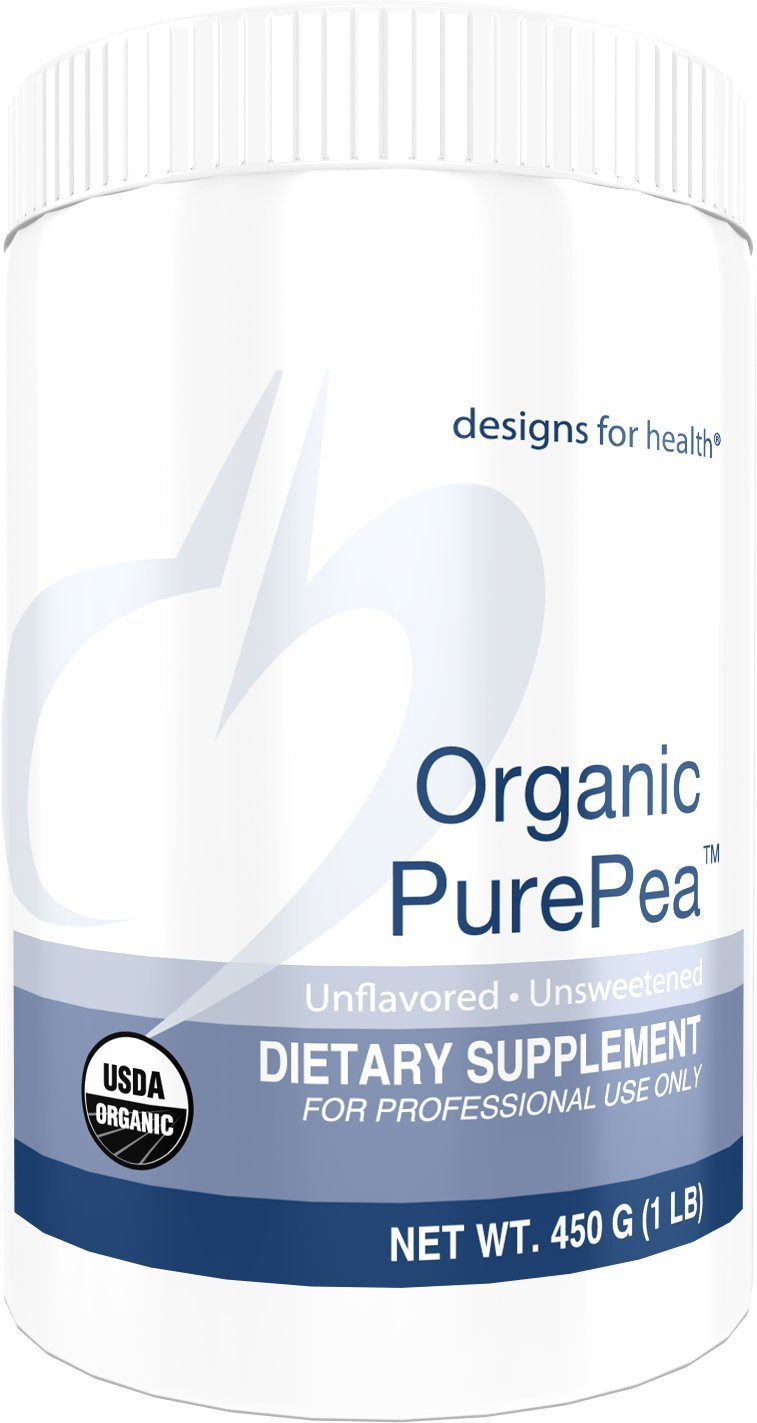 Designs for Health Organic PurePea Unflavored + Unsweetened - Pea Protein Powder with 22 Grams Vegan Protein, Organic + Non-GMO (15 Servings, 450 Grams)