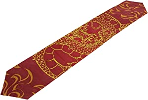 SLHFPX Table Runner Asian Dragon Fire Red Home Decor Dresser Scarves Table Cloth Runner Coffee Mat for Wedding Party Banquet Decoration 13