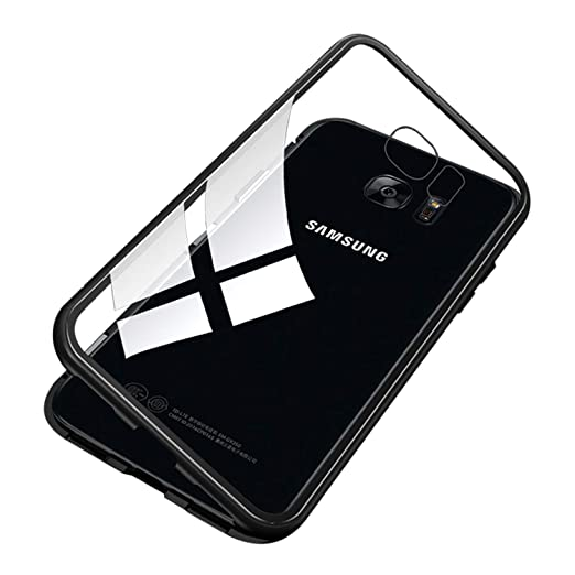 newest d71e1 4a686 UNIYA Galaxy S7 Edge Magnetic Case, Tempered Glass Magnetic Metal Frame  Aluminum Alloy Protective Case