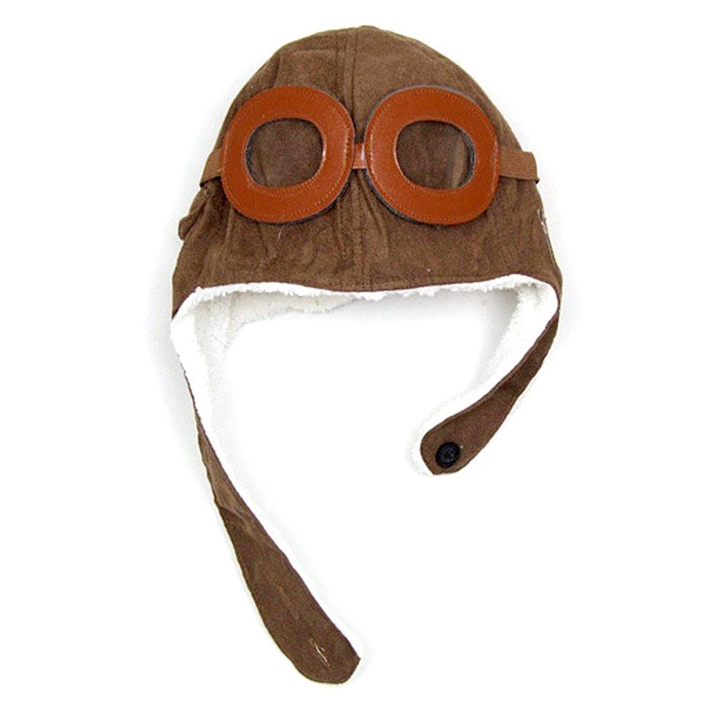 Winter Warm Child Hat Beanie Earflap Hat Pilot Aviator Style Cap For 2 - 5 Years Old Kids Coffee Elisona
