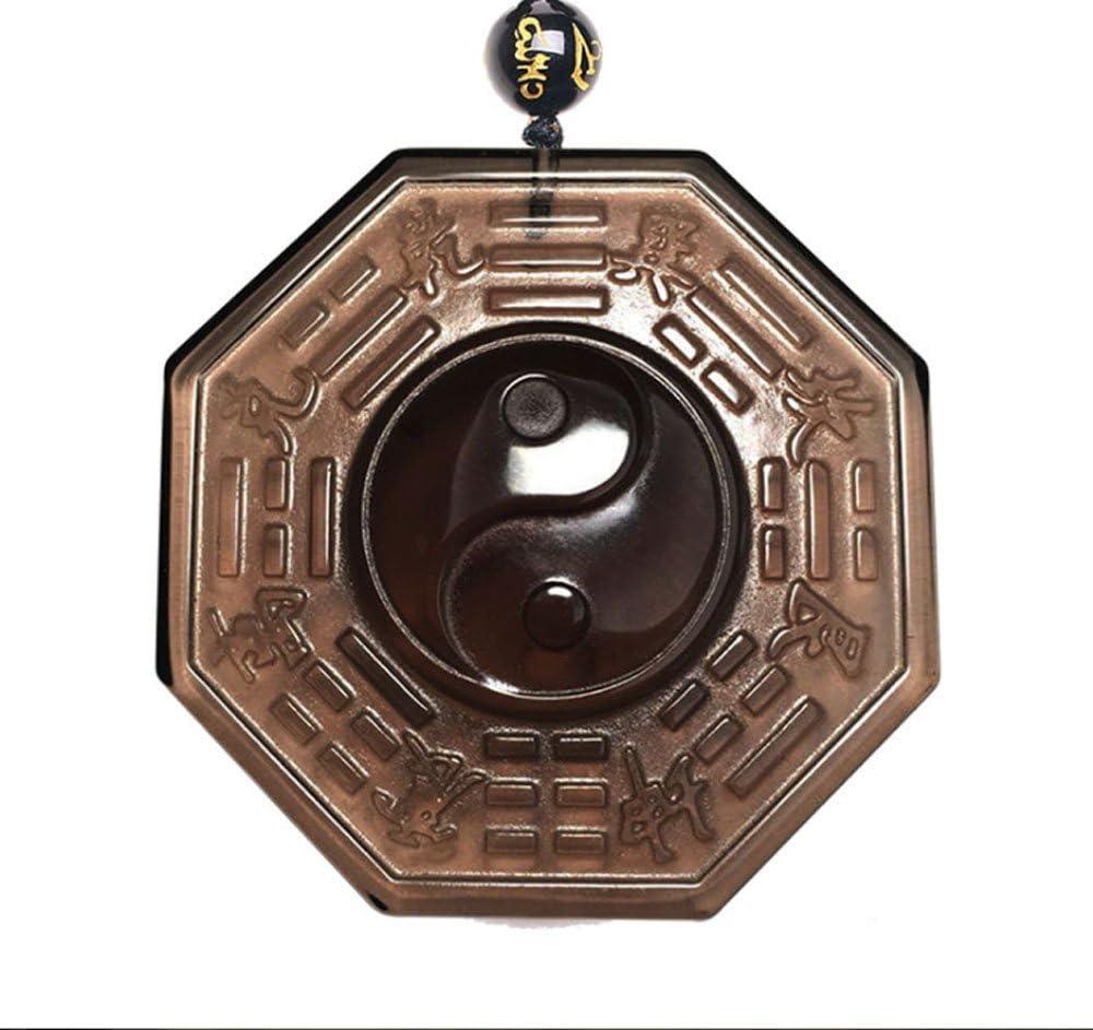 ZTAN Collar de Obsidiana de Hielo Natural Tai Chi Grabado Cristal Colgante de Piedra con Cadena de Cuentas Extensible para Hombres o Mujeres