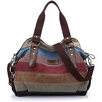 WAWJ Multicolor rayas la lona de los totalizadores del bolso de las mujeres Hobos y bolsos de hombro