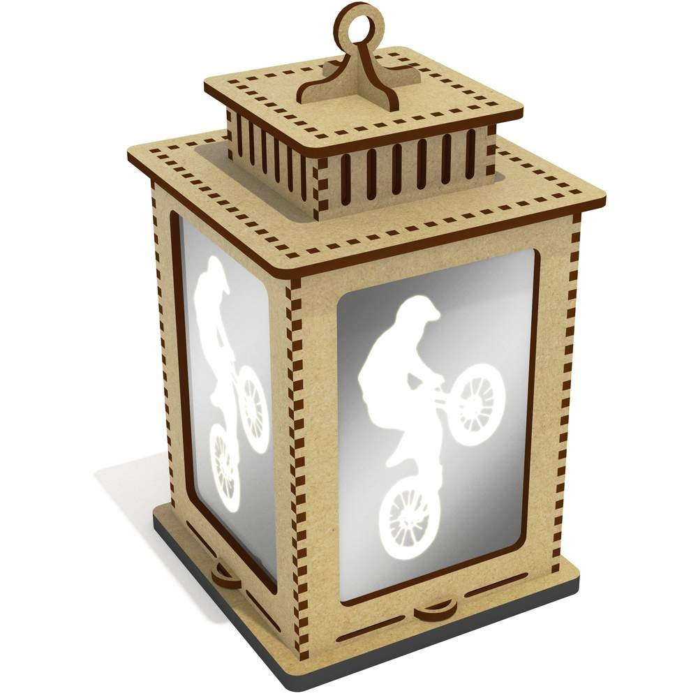 Azeeda 'Dirt Biker' Mirrored Candle Lantern / Tea Light Holder (LT00032458)