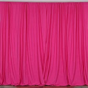 AK TRADING CO. 10 feet x 10 feet Polyester Backdrop Drapes Curtains Panels with Rod Pockets - Wedding Ceremony Party Home Window Decorations - Fuchsia