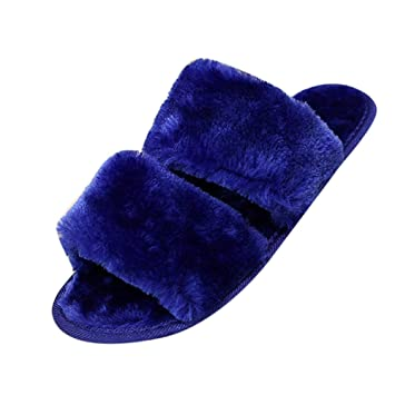 57e44da7101c Amazon.com  Overmal 2018 Unisex Men Women Slip On Sliders Fluffy Faux Fur  Flat Slipper BU 36 Blue  Shoes