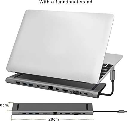 Triple Display Type C Dock Station Adapter with 2 HDMI,VGA,PD 3.0 Type C Port,SD TF Card Reader,4 USB Ports Compatible for MacBook,Other USB C Laptop MAIDERN USB C Laptop Docking Station