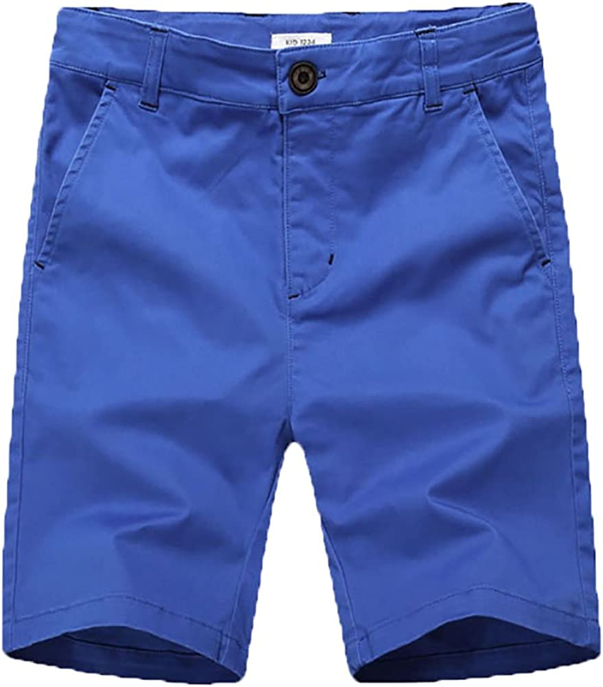 KID1234 Boys Shorts Flat Front Shorts with Adjustable Waist,Chino Shorts for Boys 5-14 Years,6 Colors to Choose