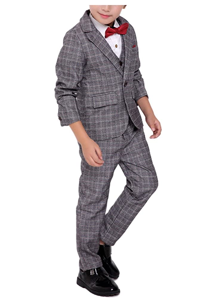 1920s Children Fashions: Girls, Boys, Baby Costumes Boys Vintage Gray Plaid Suits 3 Pieces Jacket + Vest + Pants $39.49 AT vintagedancer.com