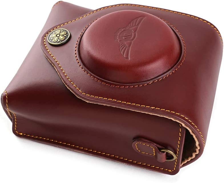 Pouch+Half Case Brown Color Handmade Genuine Real Leather Full Camera Case Bag Cover for Ricoh GR III GR3
