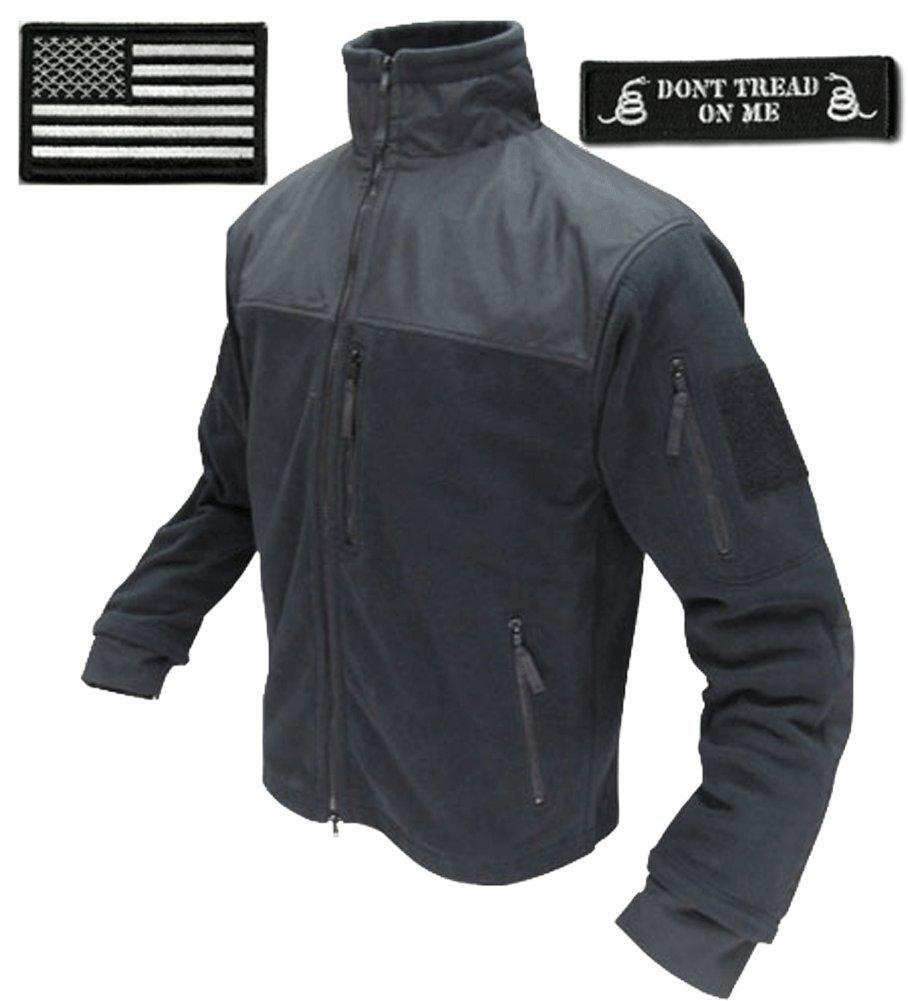 Condor Tac-Jacket (Black-Large) & USA Flag & Dont Tread Patch - 3 Item-Bundle