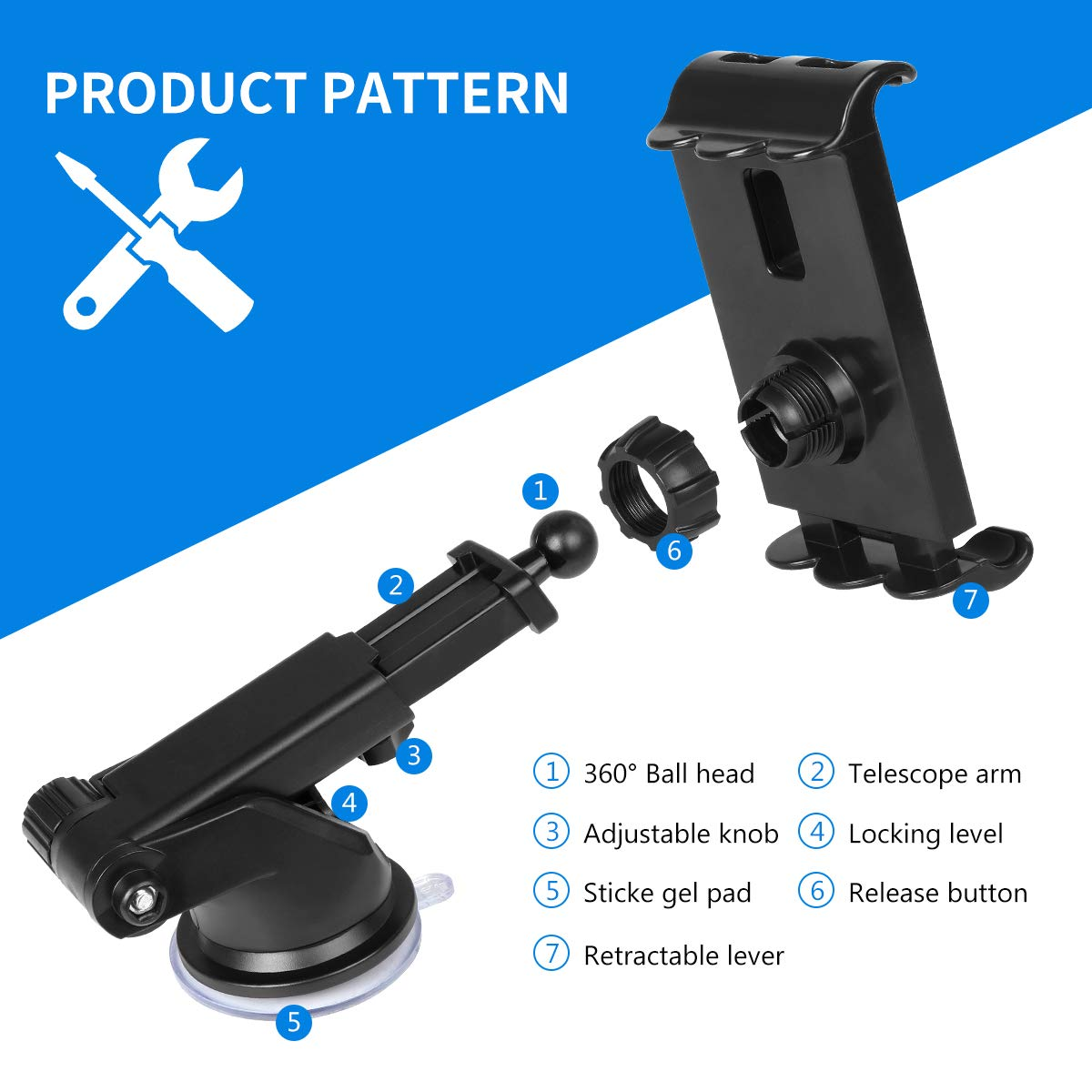 4.5-6.5 Phone Mount Car Dashboard Windshield Tablet Mount 7-10.5 Tablet Holder Compatible iPad Pro 10.5//Air//Mini//iPhone Xs//XS MAX//XR//X//8//8Plus//7//7Plus Galaxy S7//S8//S9 Huawei etc Black