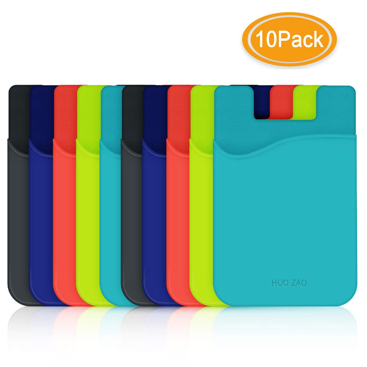 HUO ZAO Phone Credit Card Holder, Silicone Sticky Phone Wallet 3M Adhesive Stick-on Wallet Compatible with Apple iPhone Samsung Galaxy Android Cell Phone Table Multi Colors - 10 Pack