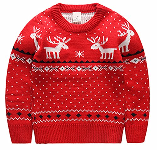 BESTERY Unisex Kids Knitted Fireplace Lovely Raindeer Sweater Pullover Jumper For Christmas Party Photograph Best Gift (5T, Red)]()