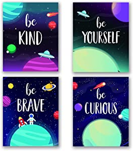 "Funny Outer Space Planet Inspirational Art Print, Cartoon Planet with Stars spaceship Wall Poster, Inspirational Typography Painting for Bedroom Nursery Classroom Decor, Set of 4 (8""X10"") No Frame"