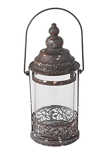 Rustic Large Metal And Glass Round Candle Holder Decorative Hanging Lantern