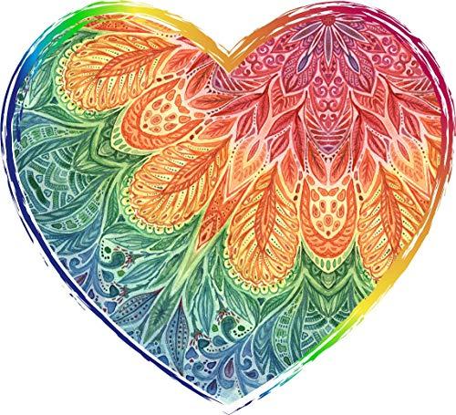 BW MAG Magnet Pretty Rainbow Mandala Boho Flower Heart Vinyl Magnet (2