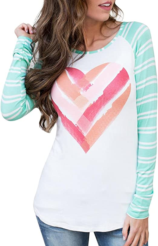LowProfile Women s Valentines Printed Tee Shirt Long Sleeve Raglan T Shirt Casual Basic O Neck Blouse Top