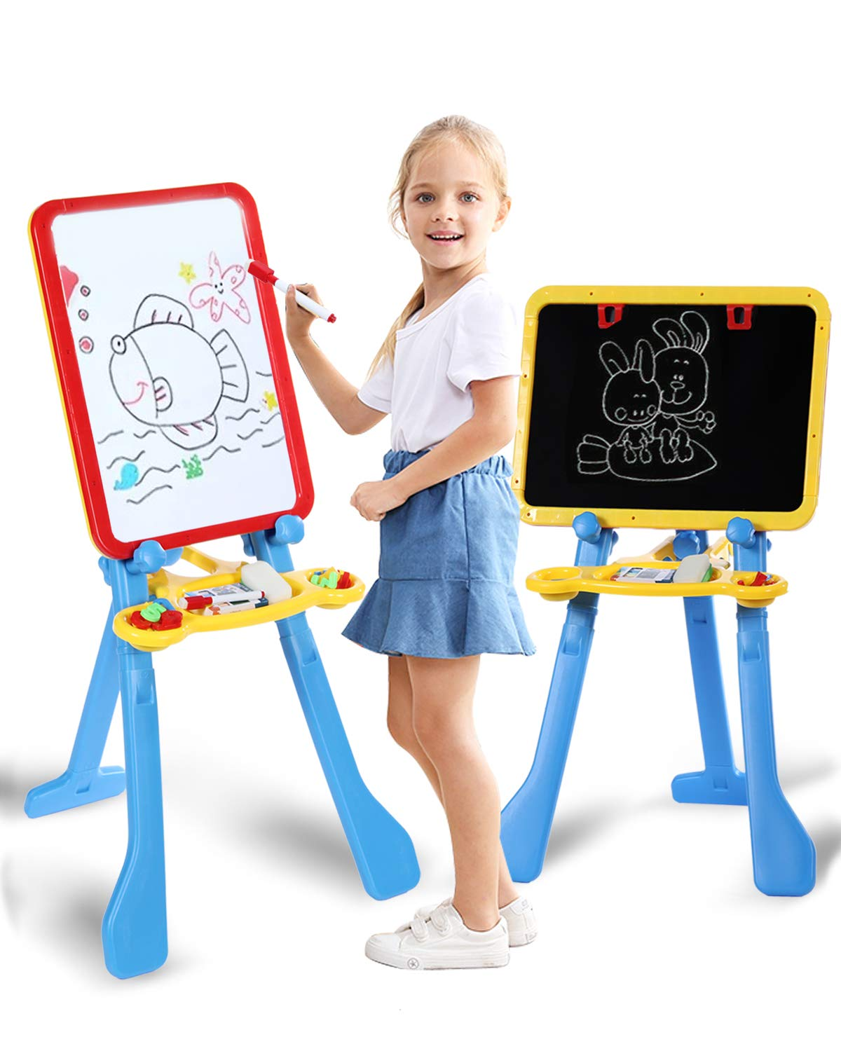 STEAM Life Art Easel for Kids | 4 in 1 Magnetic Board, Chalkboard, Painting Easel, and Drawing White Board for Kids | Includes Magnetic Letters and Numbers | Easy Storage and Adjustable Height 61ZPmi-EXWL