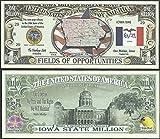 Iowa State Educational Million Dollar Bill W Map, Seal, Flag, Capitol - Lot of 100 Bills