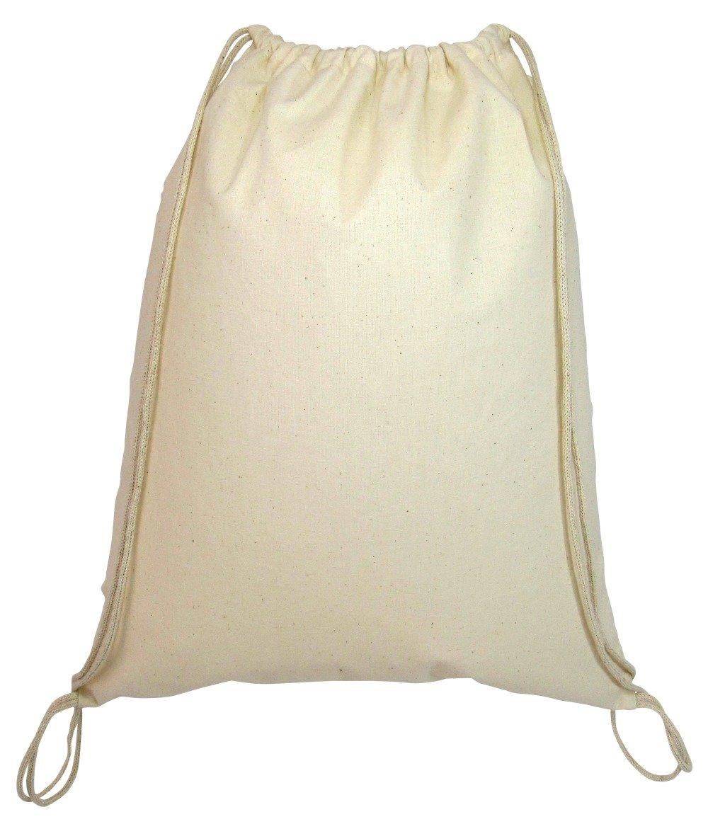 Reusable Cotton Drawstring Cinch Bags (Set of 24) (Natural)