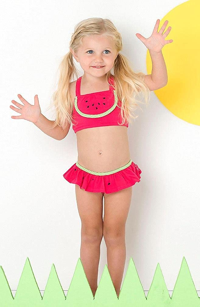 fd19d27f6e791 Amazon.com: Le Top Little Girls' WATERMELON CUTIE Pink Lime Skirted Ruffle  2-pc Swimsuit: Clothing