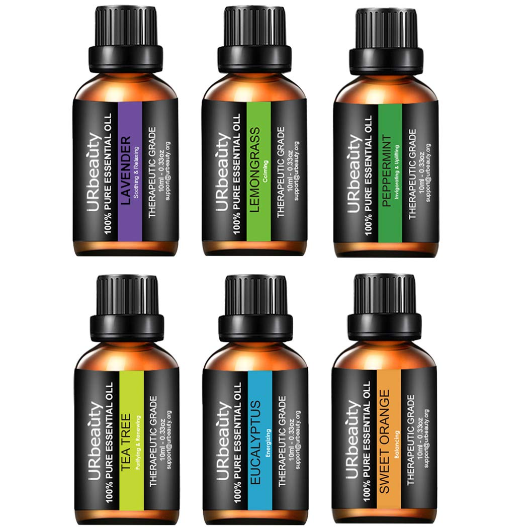 URbeauty Essential Oils, Upgraded 6 Aromatherapy Essential Oil Diffuser Essential Oils 100% Pure Lavender, Peppermint, Sweet Orange, Eucalyptus, Tea Tree, Lemongrass Essential Oil Gift Set 10ml/Each