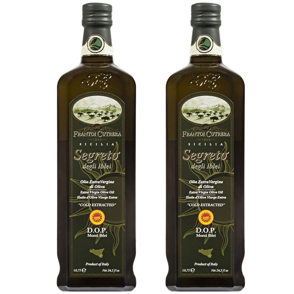 Frantoi Cutrera Segreto Degli Iblei Cold Extracted Extra Virgin Olive Oil D.O.P - Product of Italy, 24.5fl.oz (2 pack)
