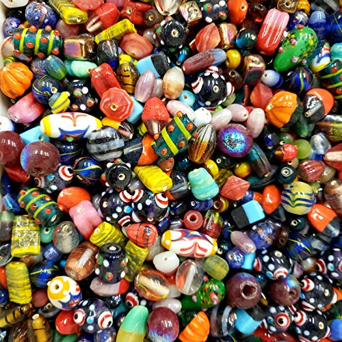 Lampwork Beads for Jewelry Making Supplies for Adults 130-150 pcs Bulk Assorted Mix of Small and Large Craftwork Murano Venetian Beads for Bracelet and Necklace -