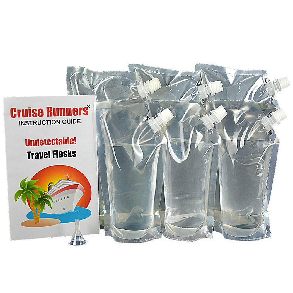 Cruise Runners - Clear Plastic Flask Kit Rum Runner Sneak Alcohol Smuggle Liquor Booze 3 32oz.- 3 16oz.