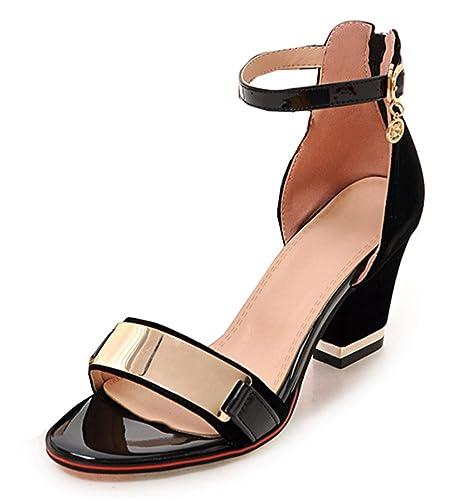 Chaussures à bout ouvert noires Fashion femme DGspep1jYf