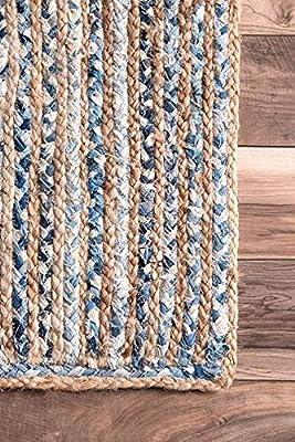 InicioDecorBoutique - Alfombra de Yute de algodón Trenzado Hecho a Mano, Estilo hindú, Estilo Indio, 5 pies Redondos.: Amazon.es: Hogar