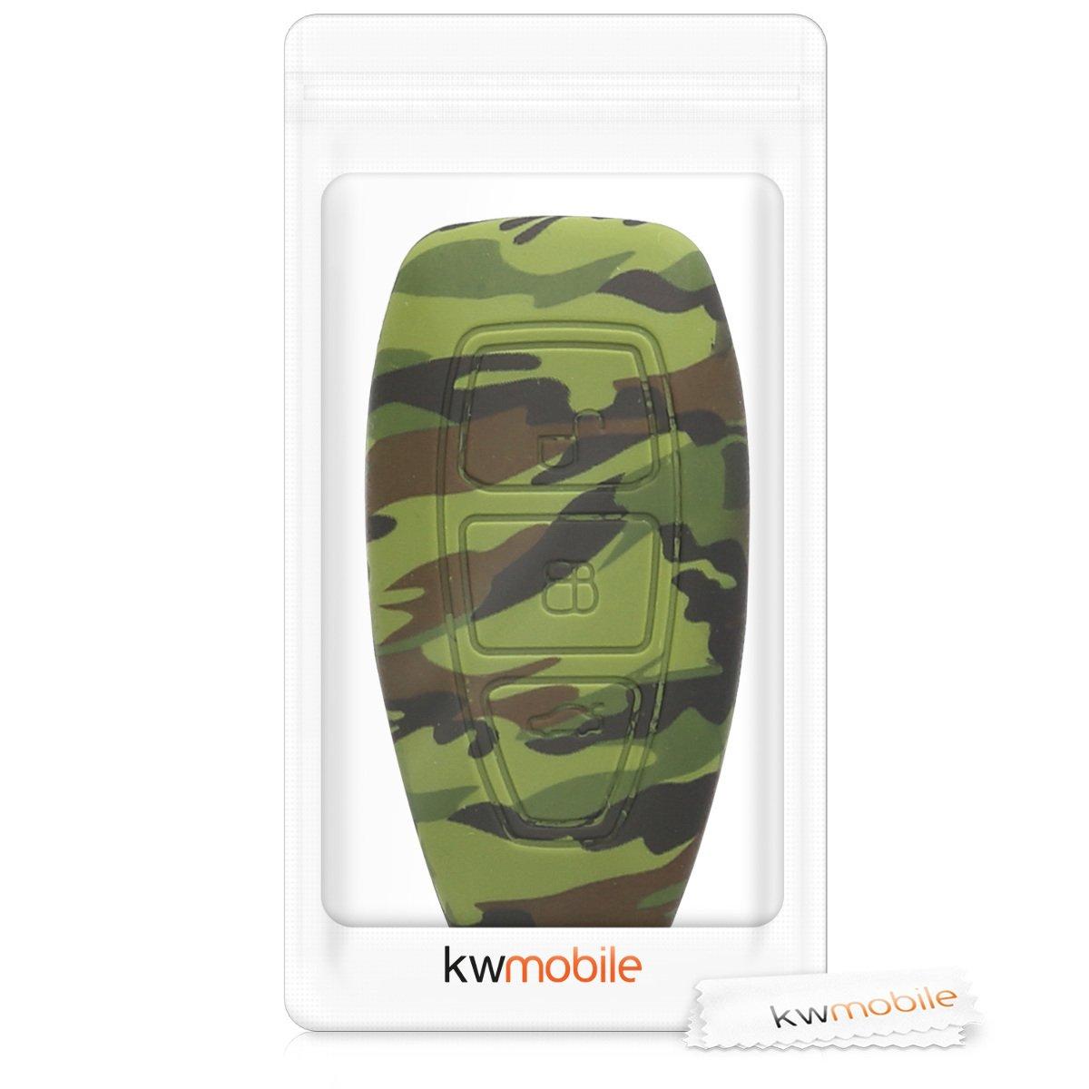 Carcasa Protectora Suave de kwmobile Funda para Llave Keyless Go de 3 Botones para Coche Ford Silicona - Case de Mando de Auto con dise/ño de Varias Estrellas