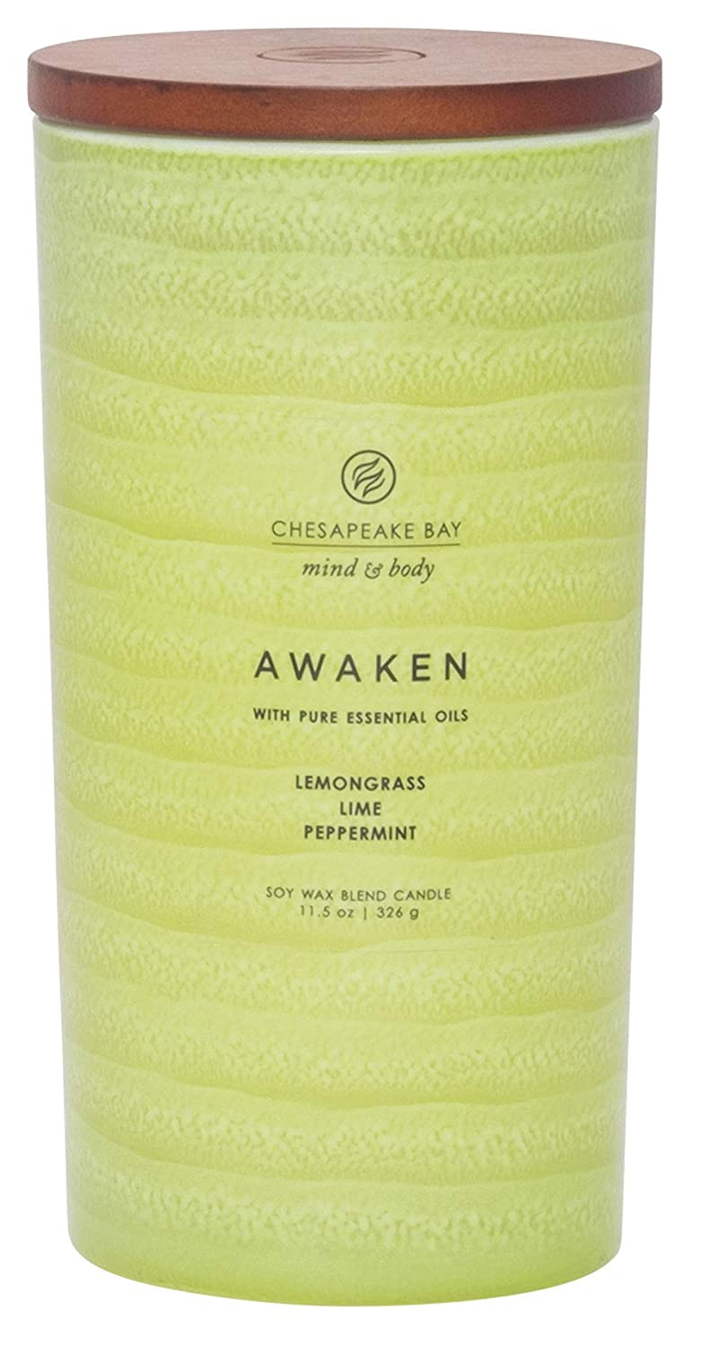 Chesapeake Bay Candle Mind & Body Serenity Scented Candle, Awaken with Pure Essential Oils (Lemongrass, Lime, Peppermint), Large