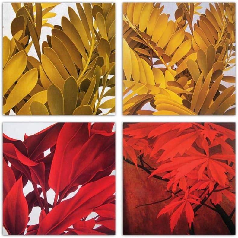 Mmdianpu Impresiones nórdicas de Acuarela Cartel Hojas Rojas y Amarillas Arte de la Pared Pintura de la Lona Cuadros Abstractos Sala de Estar Decoración del hogar (40x40 cmx4 sin Marco)