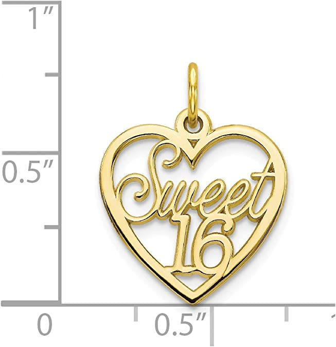 Details about  /10k 10kt Yellow Gold Happy Sweet 16 Charm PENDANT 15 mm X 12 mm