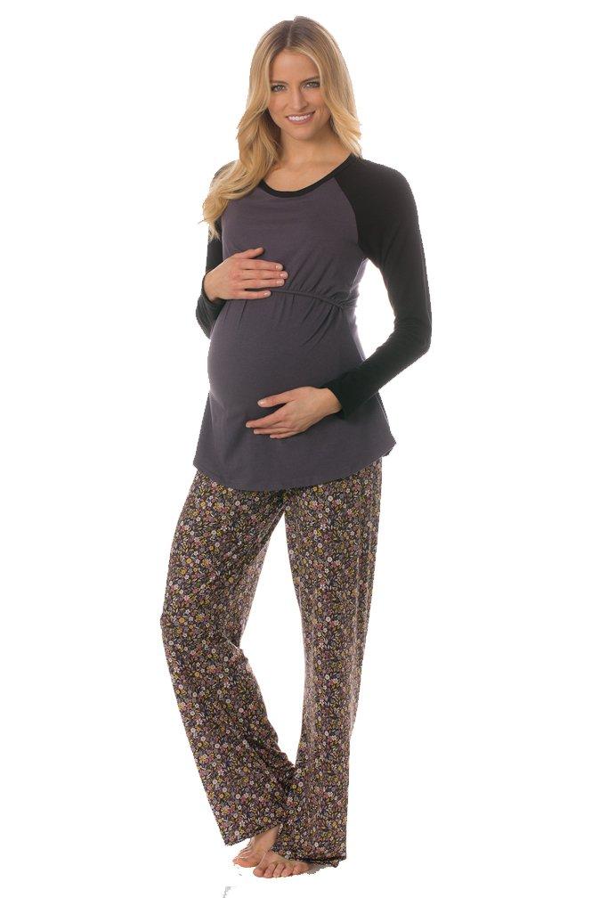 Majamas Pastime Maternity Nursing Lounge Pajama Set - Woodland - Large