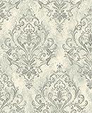 Mayflower Wallpaper Silver Gunmetal Gray Pashmina Damask Laurels Double Roll