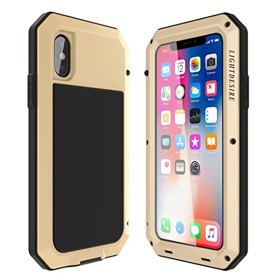 sports shoes 5c29a 1078b iPhone Xs X Case LIGHTDESIRE Aluminum Alloy Protective Metal Extreme Water  Resistant Shockproof Military Bumper Heavy Duty Cover Shell [Gold] for ...