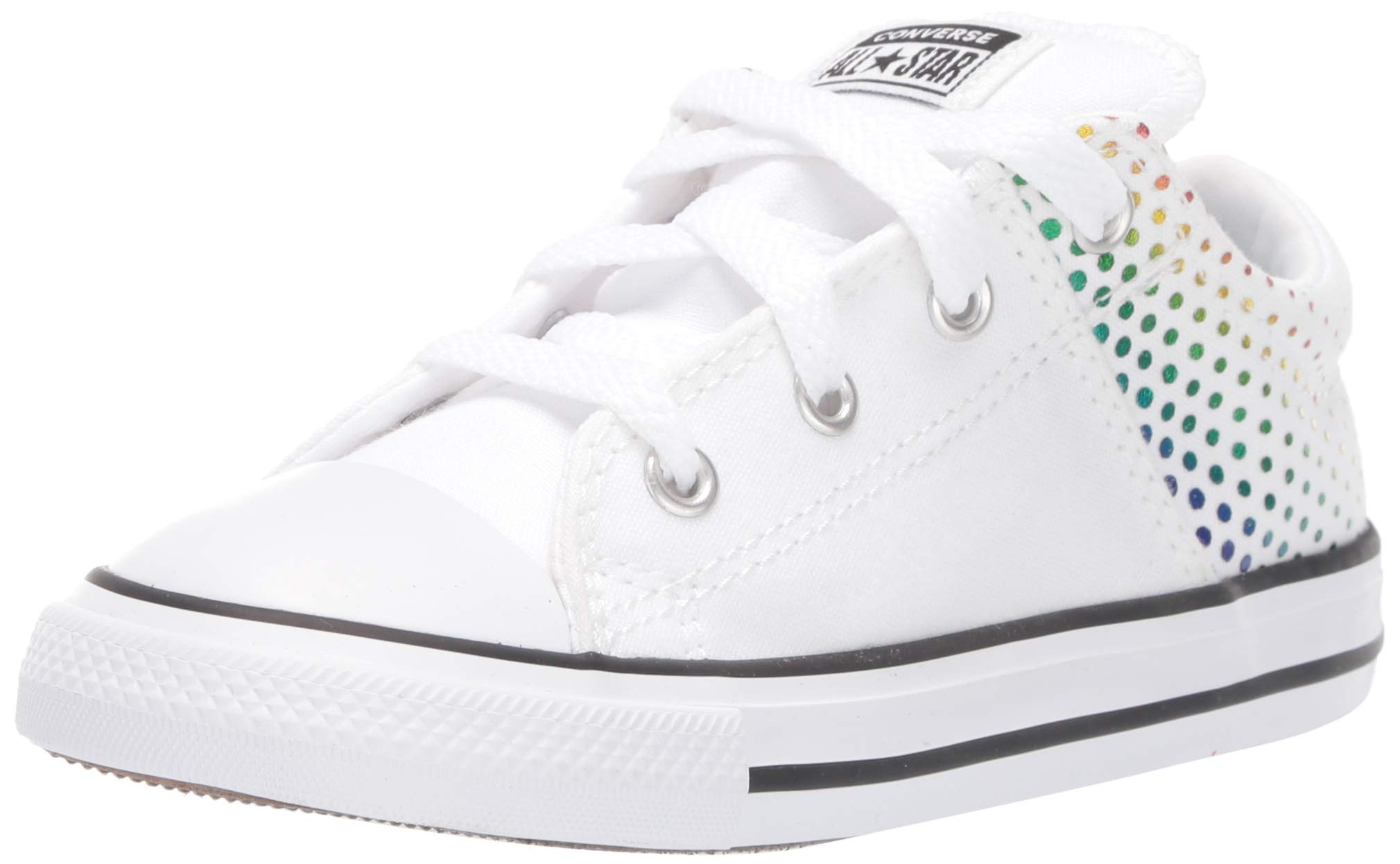Converse Girls' Chuck Taylor All Star Madison Rainbow Foil Print Low Top Sneaker, White/Multi/White, 7 M US Toddler by Converse