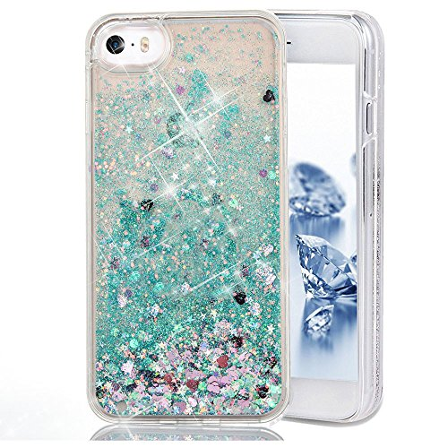 iPhone SE Case, SUPVIN Liquid Case for iPhone SE, iPhone 5S/5 Fashion Creative Design Flowing Liquid Floating Luxury Bling Glitter Sparkle Diamond Hard Case for iPhone SE, iPhone 5S (Pattern 9)