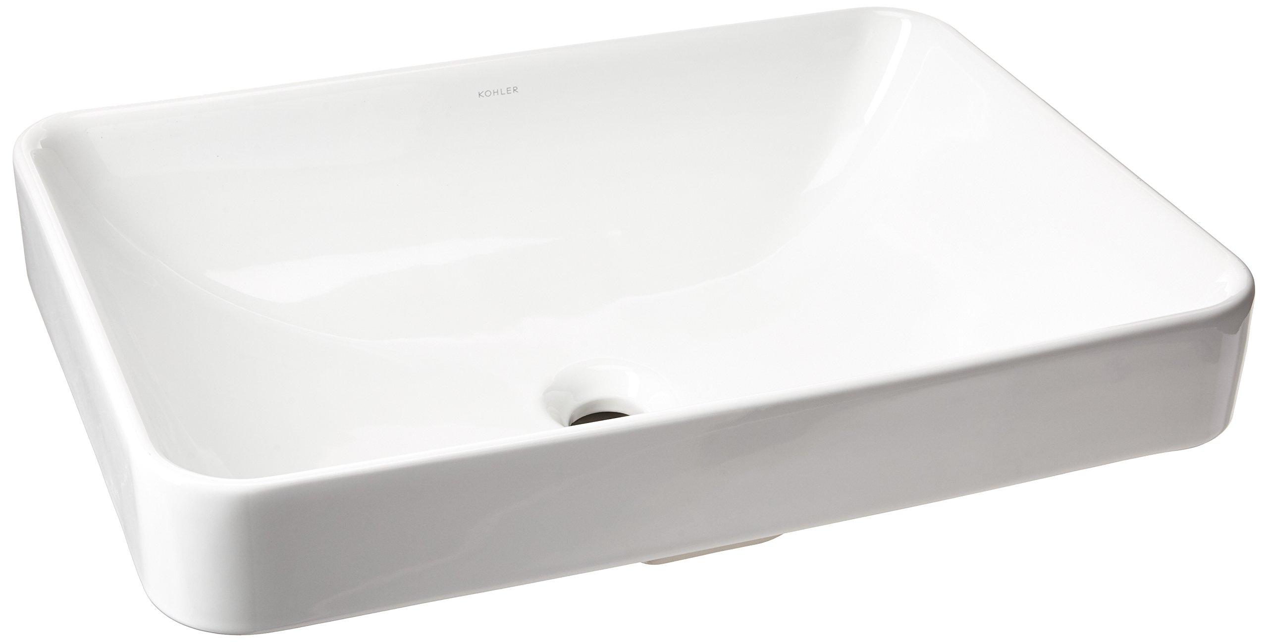 KOHLER K-5373-0 Vox Rectangle Vessel Above-Counter Bathroom Sink, White