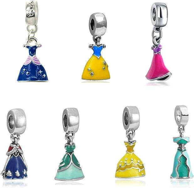 fd61abe35 Silver set of 7 Dress Charms Rapunzel, Belle, Cinderella, Anna, Snow White,  Ariel And Jasmine, will fit Pandora, Biagi, Chamilia and Troll Bracelets BMP