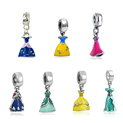 Silver set of 3 Rapunzel, Belle And Jasmine Dress Charms, will fit Pandora, Biagi, Chamilia and Troll Bracelets BMP