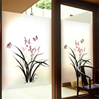 Window Privacy Film No Glue Static Cling Window Film Flower Plant Butterfly Pattern Decorative Frosted Glass Films…