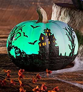 Indoor Outdoor Color Changing Lighted Short Pumpkin Halloween Decor 7.5 dia. x 6 H