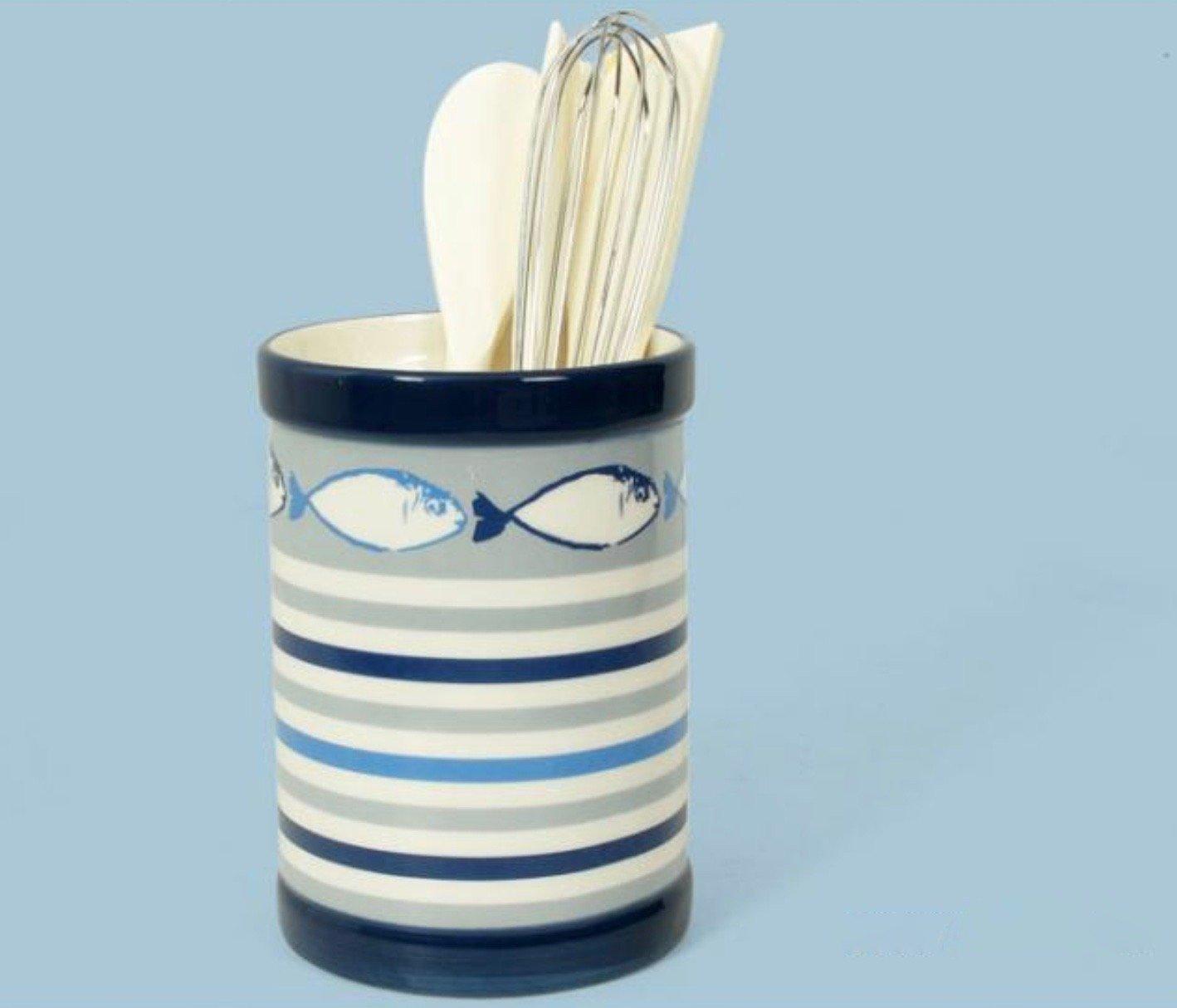 000643 Striped Ceramic Utensil Holder with Fish Design and Kitchen Utensils