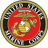 "marine corps auto decal - 4 Pack USMC United States Marine Corps US EGA Patriotic Military Auto Decal Bumper Sticker Large 5x5"" - Vinyl Decal For Cars Trucks RV SUV Boats Support US Military (Round Emblem)"