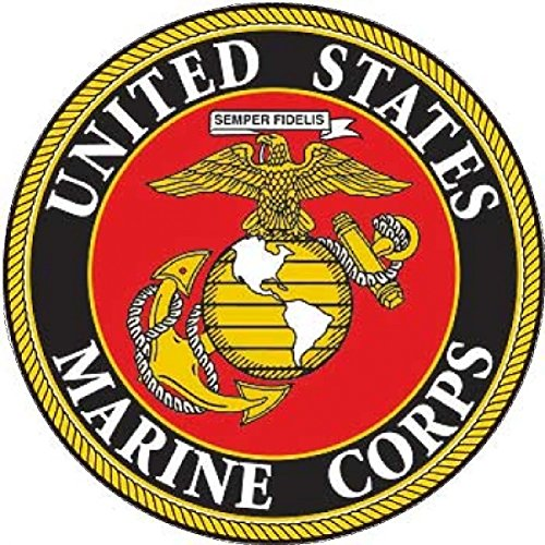 "Round Vinyl Decal (4 Pack USMC United States Marine Corps US EGA Patriotic Military Auto Decal Bumper Sticker Large 5x5"" - Vinyl Decal For Cars Trucks RV SUV Boats Support US Military (Round Emblem))"